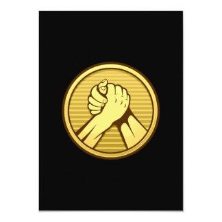 "Arm wrestling Gold 4.5"" X 6.25"" Invitation Card"