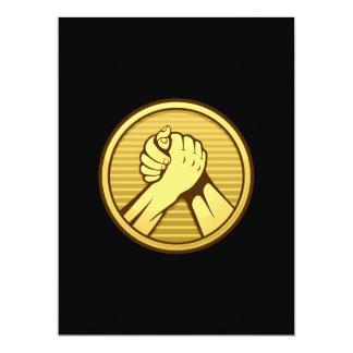 "Arm wrestling Gold 6.5"" X 8.75"" Invitation Card"