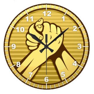 Arm wrestling Gold Large Clock