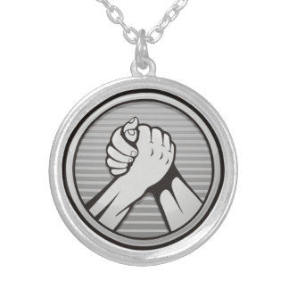 Arm wrestling Silver Silver Plated Necklace