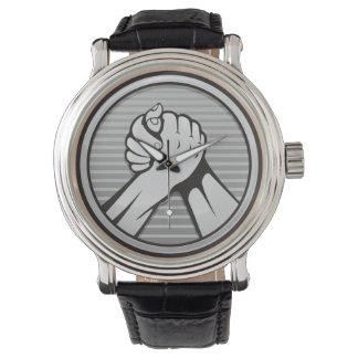 Arm wrestling Silver Wristwatch