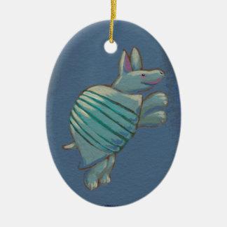 Armadillo art fun inspirational confident cute ceramic oval ornament