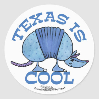 Armadillo Blue-Texas is Cool Round Sticker