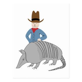 Armadillo Cowboy Postcard
