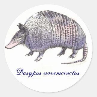 Armadillo, Dasypus novemcinctus Round Sticker