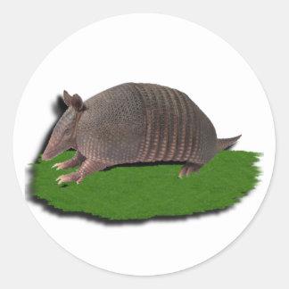 Armadillo grass round sticker
