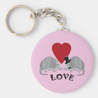 Armadillo Heart Love Pink Keychain