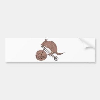 Armadillo Riding Bike With Armadillo Wheel Bumper Sticker