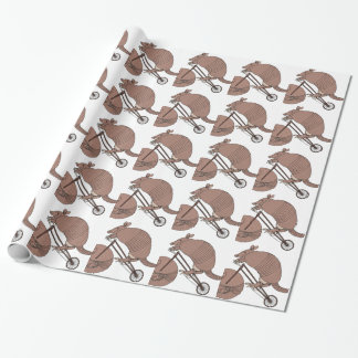 Armadillo Riding Bike With Armadillo Wheel Wrapping Paper
