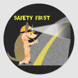 Armadillo Safety First Sticker