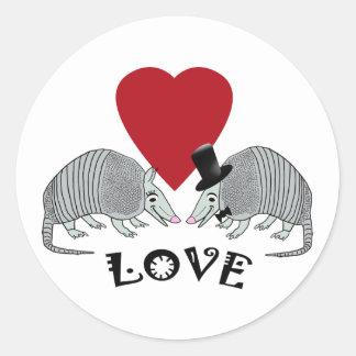 Armadillos in Love Round Sticker