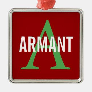 Armant Breed Monogram Silver-Colored Square Ornament