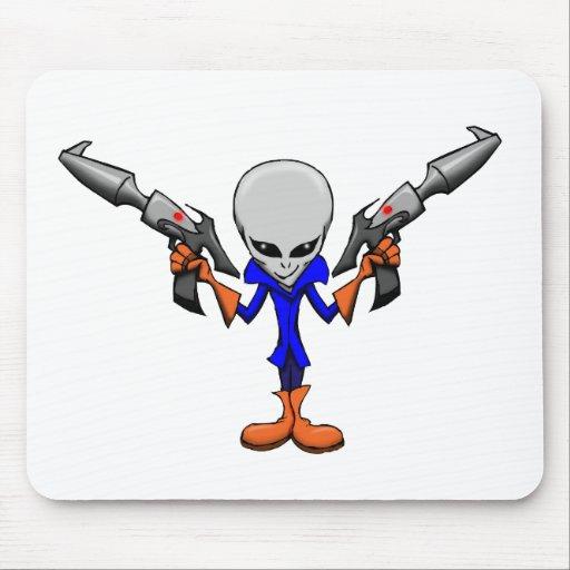 Armed Alien Grey Mousepad