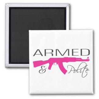 Armed & Polite, 2 Inch Square Magnet
