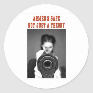 ARMED & SAFE CLASSIC ROUND STICKER