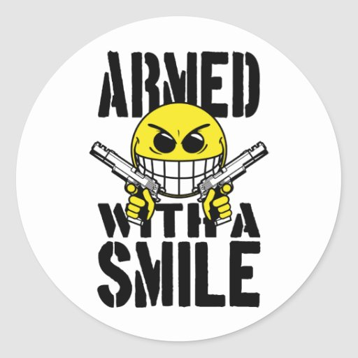 Armed with a smile stickers