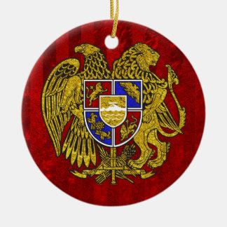 Armenia Coat of Arms on Red Round Ceramic Ornament