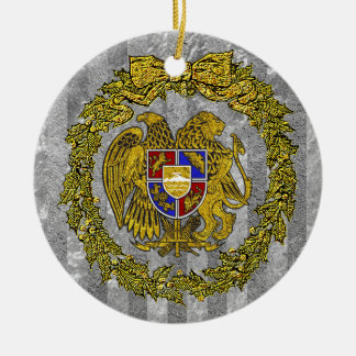 Armenia Coat of Arms Silver Gold Holly Round Ceramic Ornament