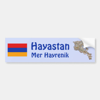 Armenia Flag and Map Bumper Sticker