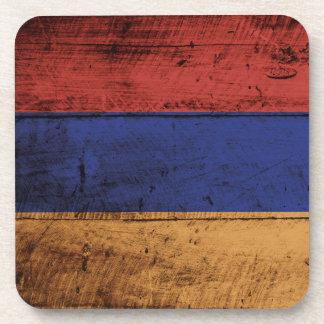 Armenia Flag on Old Wood Grain Coaster