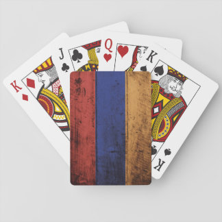 Armenia Flag on Old Wood Grain Playing Cards
