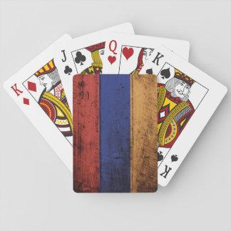 Armenia Flag on Old Wood Grain Poker Deck