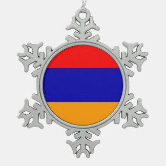 Armenia Flag Snowflake Pewter Christmas Ornament