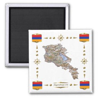 Armenia Map + Flags Magnet