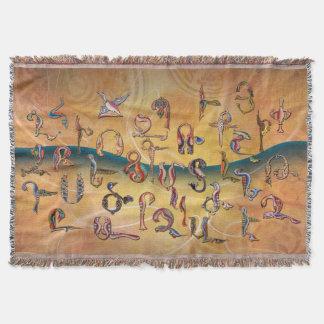 Armenian Birds Alphabet Throw Blanket