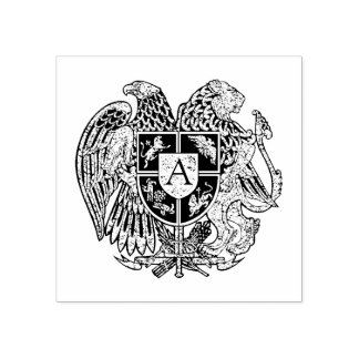 Armenian Coat of Arms Monogram Rubber Stamp