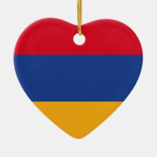 Armenian flag ceramic heart ornament