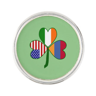 Armenian Flag Shamrock Lapel Pin