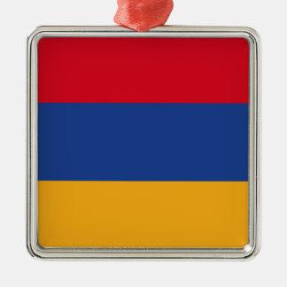 Armenian flag Silver-Colored square ornament