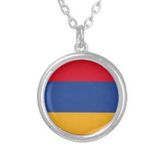 Armenian flag silver plated necklace