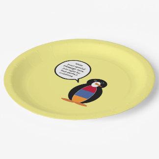 Armenian Flag Talking Penguin 9 Inch Paper Plate