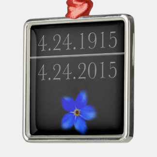 Armenian Genocide Forget Me Not Silver-Colored Square Ornament