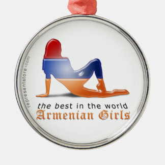 Armenian Girl Silhouette Flag Silver-Colored Round Ornament
