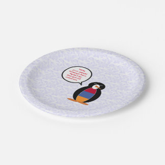 Armenian Holiday Mr. Penguin 7 Inch Paper Plate