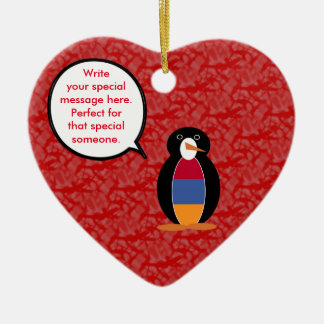 Armenian Holiday Mr. Penguin Ceramic Heart Ornament