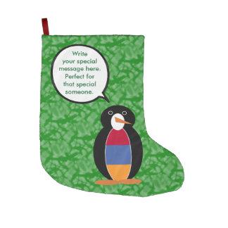 Armenian Holiday Mr. Penguin Large Christmas Stocking