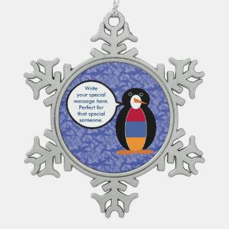 Armenian Holiday Mr. Penguin Pewter Snowflake Ornament
