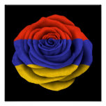 Armenian Rose Flag on Black Print