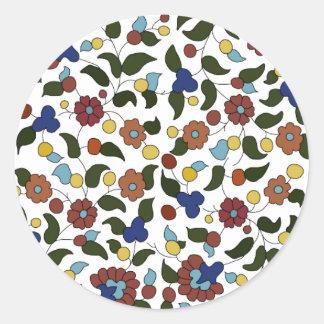 Armenian small print floral pattern round sticker
