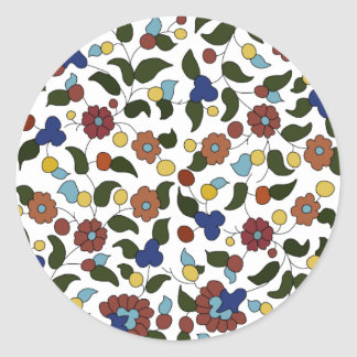 Armenian small print floral pattern round stickers
