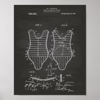 Armor Baseball Players 1909 Patent Art Chalkboard Poster