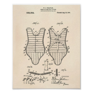 Armor Baseball Players 1909 Patent Art Old Peper Poster