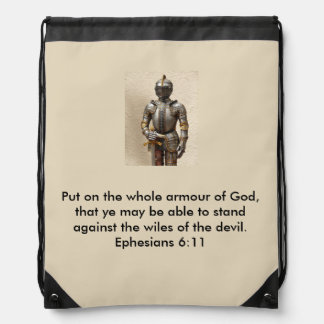 Armour of God Drawstring Backpack with Armour