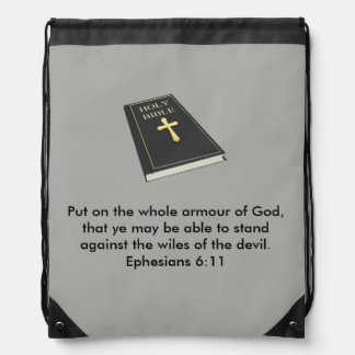 Armour of God Drawstring Backpack with Bible