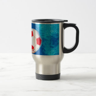 Arms holding beach ball above swimming pool water travel mug