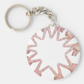 Arms of children  hands making star basic round button keychain